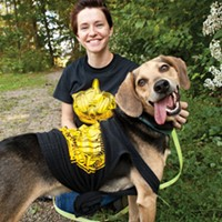 Amy Dukes, adoption coordinator for Best of Pittsburgh Winner Animal Friends, with Duke, one of the many animals waiting for a forever home