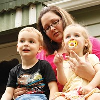 Amy McCullough with her two children, Rhys and McKenna Miller.
