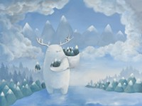 An antlered creature cradles baby mountains lightly within curled talons.