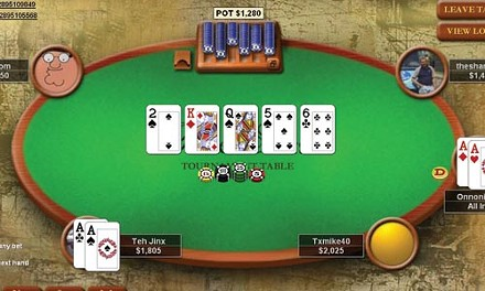 An online poker game at PokerStars.com