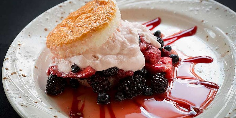 The Wooden Nickel Angel food cake with berries and whipped cream Photo by Heather Mull