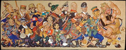 """Arthur Szyk's """"Satan Leads The Ball,"""" (New York, 1942; detail). - REPRODUCED WITH THE COOPERATION OF THE ARTHUR SZYK SOCIETY, BURLINGAME, CALIF."""