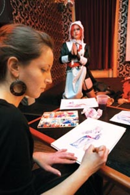 Artist model Lauren Toohey (rear) poses as Hester Prynne at a recent Drink & Draw - HEATHER MULL