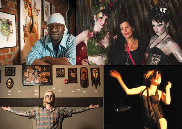 Artists from past RAW events (clockwise from upper left): visual artist Natiqu Jalil;; makeup artist Autumn Cook (center, with friends); performance artist Serotonin; and visual artist Ziggy Sawdust