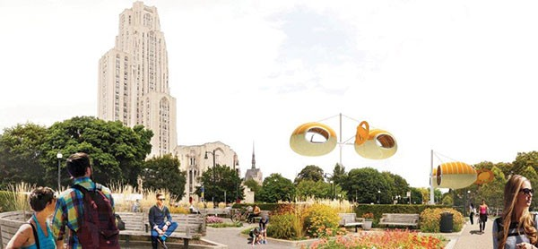 "Artist's rendering of LAGI and SUPRAFUTURE's ""Wind Nest"" proposal for Schenley Plaza - IMAGE COURTESY OF LAGI"