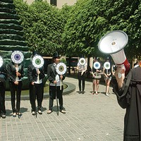 Arts-funding advocate Carolyn Speranza speaks at a Percent for Art Campaign rally Downtown last year.