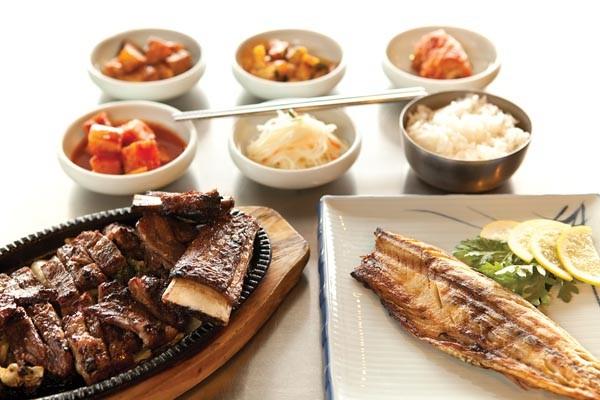 Barbequed pork and mackerel