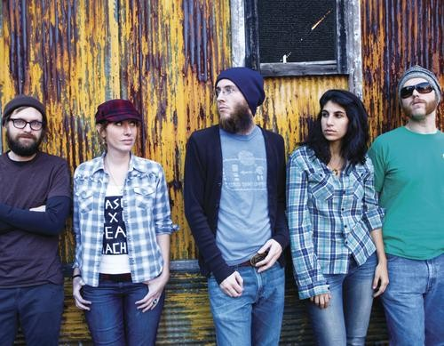 Beauty and the beards: The Slow Reel (from left, Madison Stubblefield, Teal Fitzpatrick, Rob Collier, Zeina Saliba, Matthew Troncale)