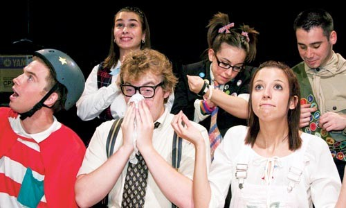 Bee good: Little Lake's 25th Annual Putnam County Spelling Bee features (front row, left to right) Stephen Santa, Charles Grant Carey, Laura Paterra and (back row) Elizabeth Pegg, Samantha DeConciliis and Nick Bell. - PHOTO COURTESY OF JAMES ORR