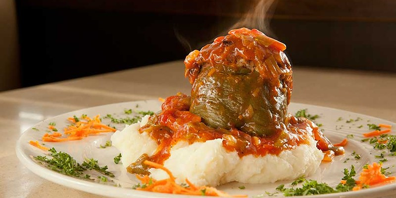 Central Diner Beef and brisket stuffed roasted peppers with mashed potatoes Photo by Heather Mull
