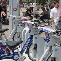 Bikes lined up at a bike-docking station. This sight could become a regular feature of Pittsburgh streetscapes.