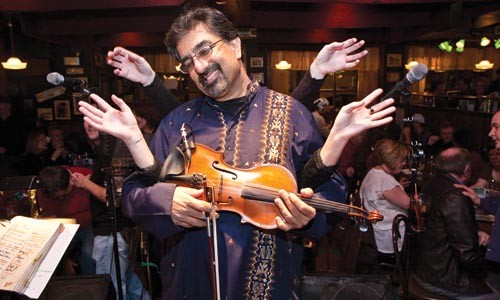 Bob Banerjee, of Corned Beef and Curry, at the Harp and Fiddle, Strip District - JOHN ALTDORFER