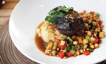 Boneless short ribs with Yukon Gold mashed potatoes and succotash - HEATHER MULL