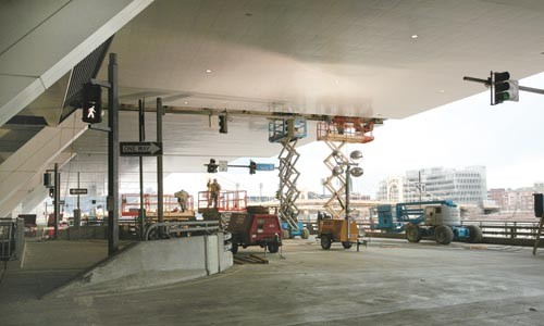 Bracing itself: repairs to the David L. Lawrence Convention Center, in progress.<