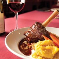Braised lamb shank with barley and spaghetti squash