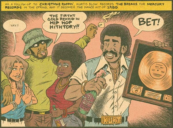 Breaking good: Russell Simmons (in hat) and Kurtis Blow (right) celebrate an early hip-hop hit in Hip Hop Family Tree.