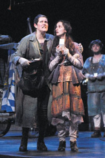 Brecht on war: Laurie Klatscher (left) takes the title role in the Playhouse Rep's Mother Courage and Her Children.