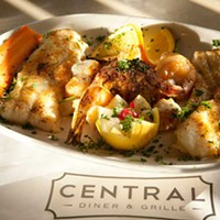 Central Diner Broiled Seafood Combo with sole filets, shrimp, scallops and crab cake Photo by Heather Mull