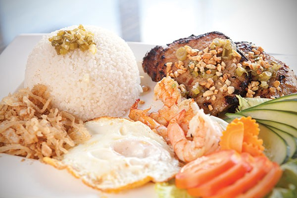 Broken rice with pork chop, shredded pork, shrimp and fried egg