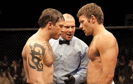 Brothers in arms: Tom Hardy (left) and Joel Edgerton prepare to square off in Warrior.