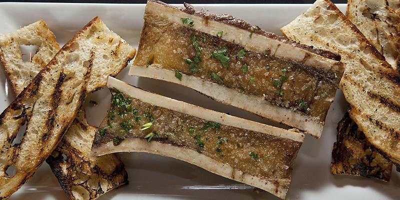 Wild Sage Canoe cut beef bone marrow with smoked sea salt and crostini Photo by Heather Mull