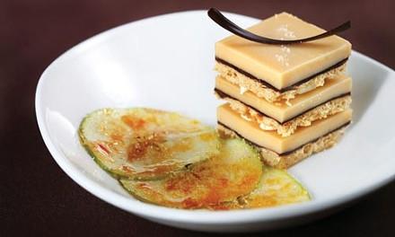 Caramel blondie torte with pretzel buttercream and green-apple brul