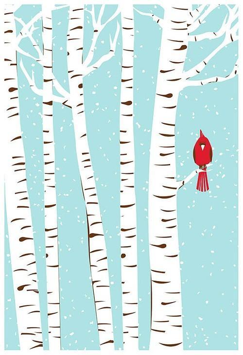 Cardinal print from Strawberryluna