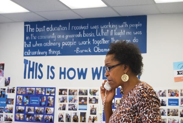 Charlotte Foster, of Penn Hills, works the phone bank at an Obama campaign office in East Liberty