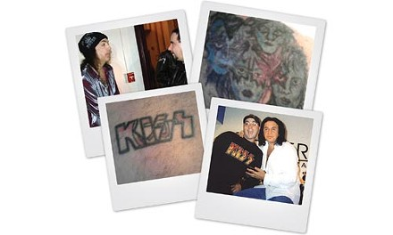 Chaz Keracher has shown his love for KISS in many ways, from meeting band members -- Paul Stanley, top left, and Gene Simmons, bottom right -- to getting a little ink. - COURTESY OF CHAZ KERACHER