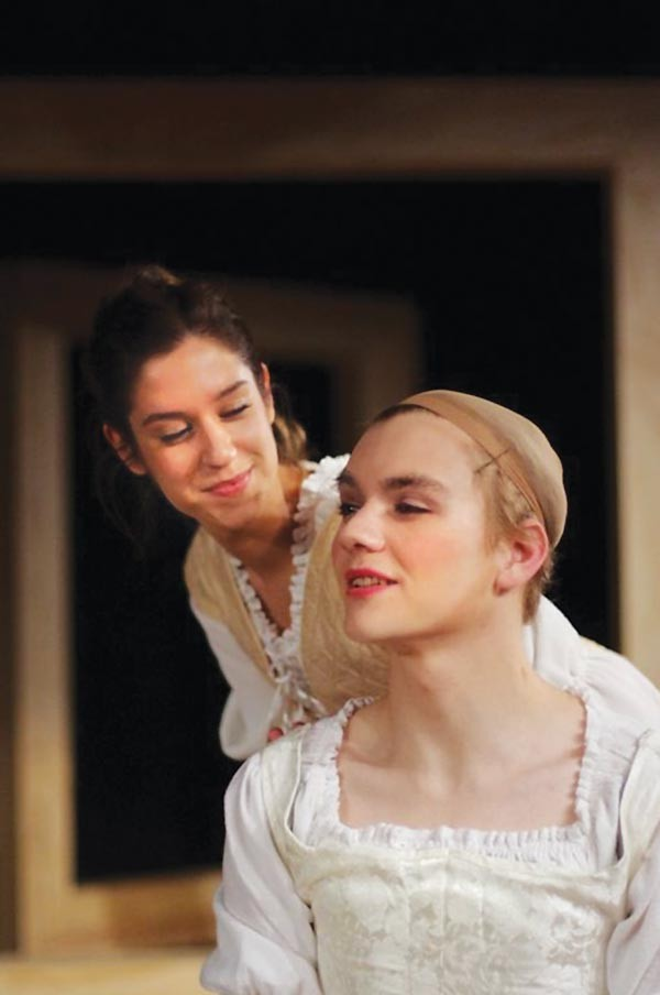 Cherchez la femme: Laura Gray and Dylan Marquis Myers in Pitt Rep's The Compleat Female Stage Beauty.