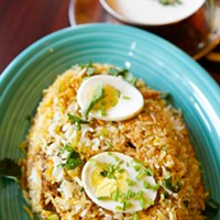Biryani Chicken dum biryani and raita Photo by Heather Mull