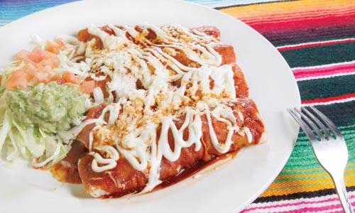 Chicken enchiladas with ranchero sauce - HEATHER MULL