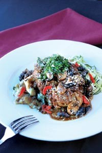 Chicken Marsala served with smashed potatoes and zucchini noodles - HEATHER MULL