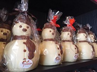 Chocolate snowmen are a seasonal treat at Chocolate! in Shadyside - PHOTO BY ANDY MULKERIN