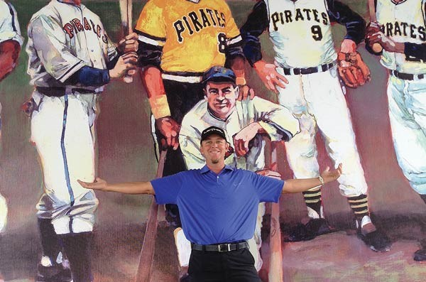 Chris Peters poses with some other former Pirates on Second Avenue