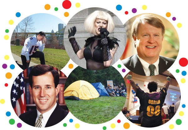 Circle of Life (clockwise from top left): Ravenstahl pays a wager; City Council honors drag queen Sharon Needles; Rich Fitzgerald has a busy year; Obama cruises back into the White House; Occupy Pittsburgh gets evicted; and right-wing poster boy Rick Santorum gives us all a scare.