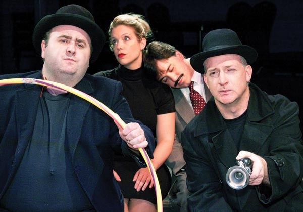 Clockwise from left: Andy Coleman, Jennifer Sinatra, Gregory Caridi and Kevin Bass, in Little Lake's The 39 Steps
