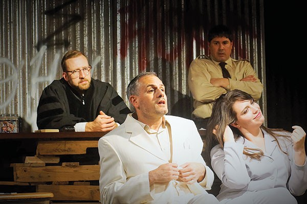 Clockwise from top right: Joseph Martinez, Emily Swora, Ricardo Villa-Roger and Everett Lowe in Througline's The Last Days of Judas Iscariot