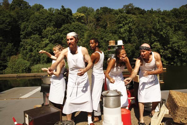 Cooking: (left to right): Catherine Moore, Gregory Johnstone, Curtis Jackson, Aidaa Peerzada and Mark Conway Thompson in Quantum's The Golden Dragon