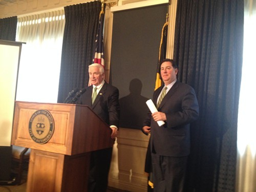 Corbett (left) and Peduto at this afternoons press conference