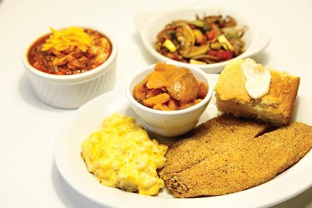 Cornmeal-battered fried tilapia, mac & cheese, yams, cornbread, shrimp & grits, and roasted vegetables - PHOTO BY HEATHER MULL