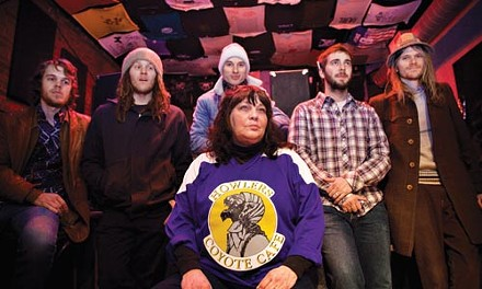 Cover charge: Booking manager Jo Albright (center), with Oklahoma City band The Uglysuit - BRIAN KALDORF