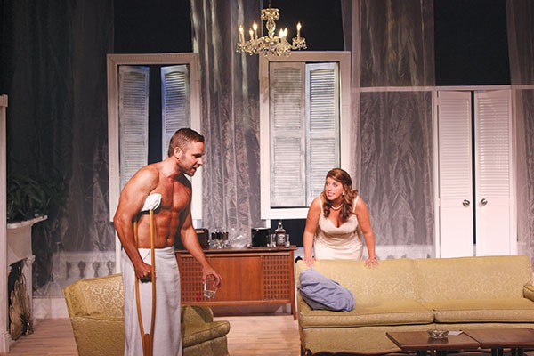 Curt Wooton and Cassandra Hough in Cat on a Hot Tin Roof, at The Summer Company.