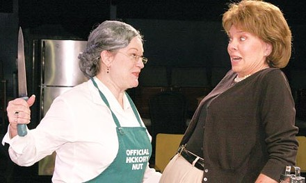 Cut-ups: Lynne Franks (left) and Lynne Martin-Huber in Little Lake's Kitchen Witches. - PHOTO COURTESY OF JAMES ORR.