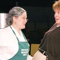 Cut-ups: Lynne Franks (left) and Lynne Martin-Huber in Little Lake's <i>Kitchen Witches</i>.