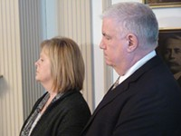 PHOTO BY CHARLIE DEITCH - Cynthia and Robert Ravenstahl were by their son's side when he dropped his re-election bid