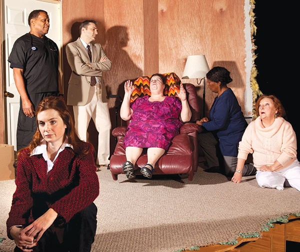 Daina Michelle Griffith (foreground), with (from left to right) Alan Bomar Jones, Tony Bingham, Virginia Wall Gruenert, Linda Haston and Susie McGregor-Laine in Well, at Off the Wall Productions.