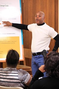 Dave Adams teaching the Conscience Group's principles - PHOTO BY HEATHER MULL