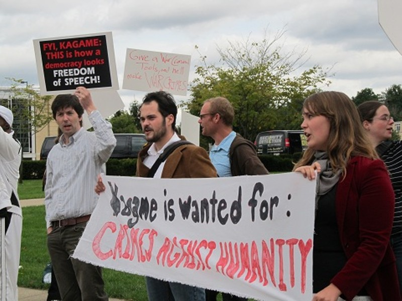 Demonstrators opposing Paul Kagame's partnership with CMU - PHOTO BY CHRIS YOUNG