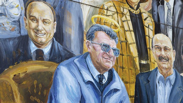 """Detail of Joe Paterno, from the mural """"Inspiration,"""" by Michael Pilato"""